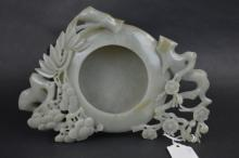 Chinese 3 Friends Carved Jade Brush Washer