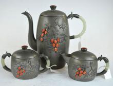 Chinese Pewter, Jade, Coral, Carnelian Teapot Set