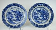 Pr. B & W 18th C Chinese Porcelain Plates
