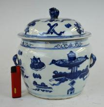 18th/19th C Chinese B & W Porcelain Pot & Cover