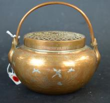 19th C Chinese Silver-Wire Inlaid Copper Hand Warmer