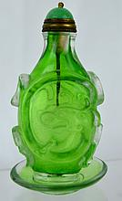 Chinese Clear & Green Glass Snuff Bottle and Dish