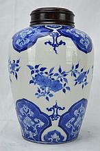 Kangxi B & W Porcelain Jar with Hardwood Lid
