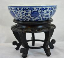 Chinese Ming Style Porcelain B & W Bowl