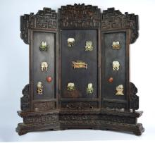 Antique Chinese Miniature Jade-Inlaid Table Screen
