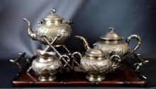 5 Piece Chinese Silver Teapot Set with a Tray
