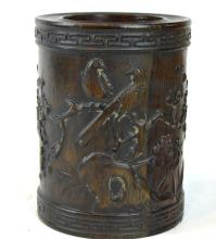 Chinese Blackwood Carved Brush Pot
