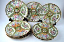11 Matching Rose Medallion Plates, 19th C Chinese