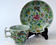Chinese Celadon & Rose Medallion Cup & Plate
