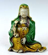 Good Chinese Kangxi Carved Porcelain Guanyin