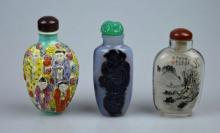 3 Snuff - Chinese Agate, Zhou Leyuan & Porcelain