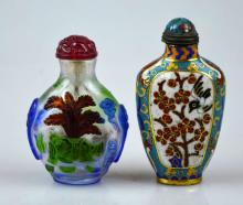 2 Chinese Snuff Bottles, Cloisonne & 3-Color Glass