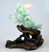 Chinese Carved Jadeite Cabbage w. Wood Stand