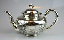 Good Late 19th C Engraved Chinese Silver Teapot