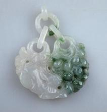 Rabbit & Grapes Chinese 2 Color Jadeite Plaque