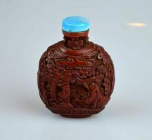 19th C Carved Chinese Cinnabar Lacquer Snuff