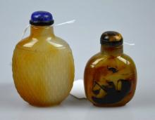 2 Well Carved 19th C Chinese Agate Snuff Bottles
