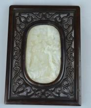 Chinese Carved White Jade Plaque in Frame