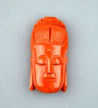 Good Carved Chinese Coral Guanyin Head