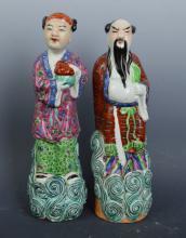 Pair Chinese Enameled Porcelain Figures
