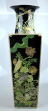 Fine Chinese Famille Noire Porcelain 4-Panel Vase
