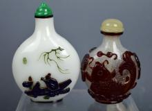 2 Chinese Carved Glass Overlay Snuff Bottles