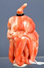 Chinese Carved Pink Coral Buddha's Hand Snuff