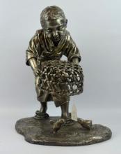 Fine 19th C Japanese Silvered-Bronze Sculpture