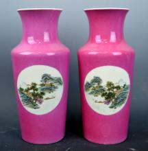 Pr Chinese Enameled Pink Ground Porcelain Vases
