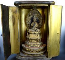 Good Antique Japanese Gilt Wood Buddha in Shrine