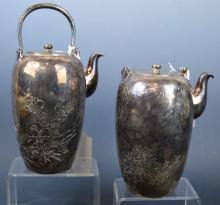Pair Japanese Heavy Silver Waterpots for Tea