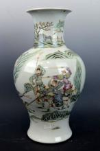 19th C Well Painted Chinese Porcelain Vase