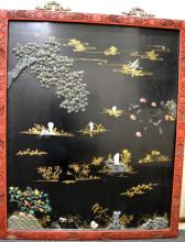 Chinese Carved Jade Inlaid Lacquer Panel