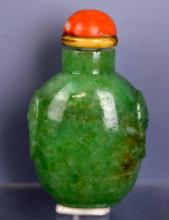 19thC Chinese Green Jadeite Snuff with Lion/Rings