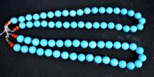 2 American Turquoise Bead Necklaces; 174 Grams