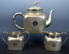Good Chinese Punch-Work 3 Piece Silver Teapot Set
