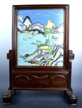 18th/19th C Chinese Cloisonne Table Screen & Stand