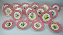 18 English Staffordshire Botanical Plates 1880