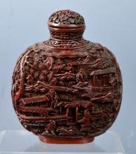 Large Chinese Carved Cinnabar Lacquer Snuff