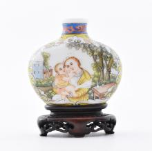 18TH/19TH C. QING DYNASTY CHINESE ENAMEL PAINTING PEKING GLASS SNUFF BOTTLE
