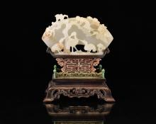 FINE CARVED CHINESE WHITE JADE FAN SHAPED JADE TABLE SCREEN WITH EGRETS DECORATION