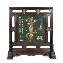 LARGE  SPINACH-GREEN JADE TABLE SCREEN INLAID TABLE SCREEN
