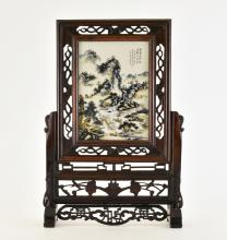 CHINESE PORCELAIN PAINTING TABLE SCREEN