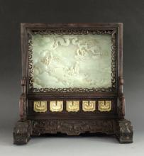 VERY FINE CARVED WHITE JADE TABLE SCREEN W/ ZITAN FRAME