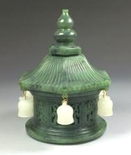CARVED SPINACH-GREEN JADE OF PAGODA W/ BELLS