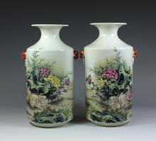 PAIR OF 20th C VASES WITH FOO DOG EARS