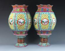 PAIR OF ANTIQUE CHINESE PORCELAIN LAMPS