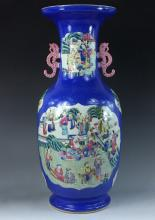 LARGE FAMILLE ROSE BLUE FLOOR VASE WITH SEA-HORSE EARS