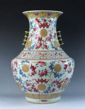 LARGE FAMILLE ROSE VASE WITH BAMBOO EARS