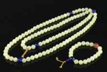 EXQUISITE CARVED WHITE JADE NECKLACE AND BRACELET